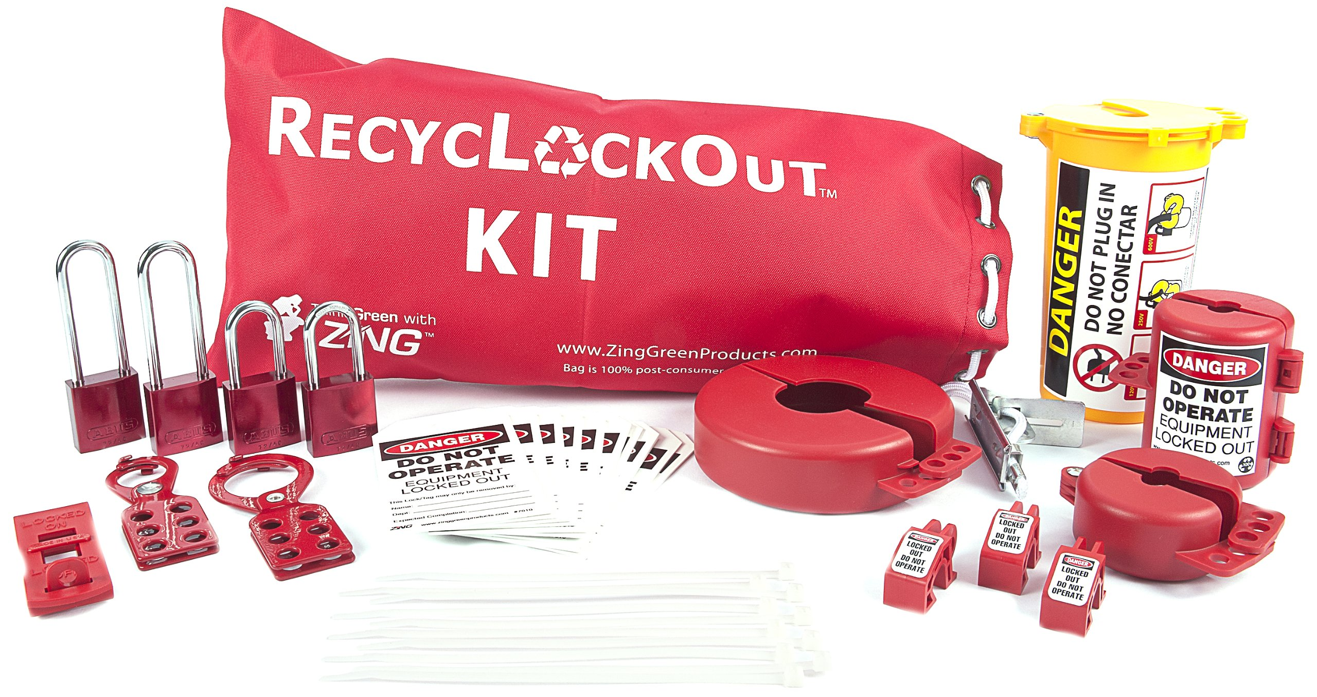 ZING 2724 RecycLockout Lockout Bag Kit with Aluminum Padlocks, 35 Components