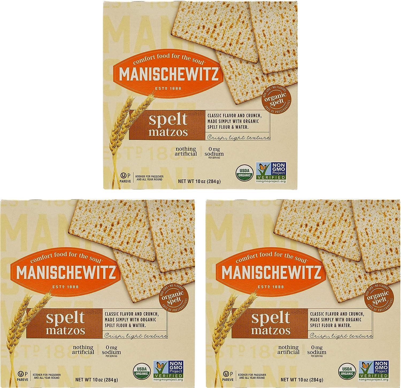 Manischewitz Organic Spelt Matzo, Kosher For Passover, 10 Ounce Box (3-Pack)