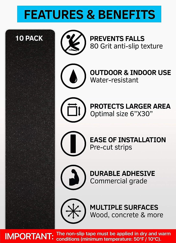"Black Anti-Slip Strips 8/""x30/"" Stair Treads Non-Slip Outdoor Tape 10-Pack"