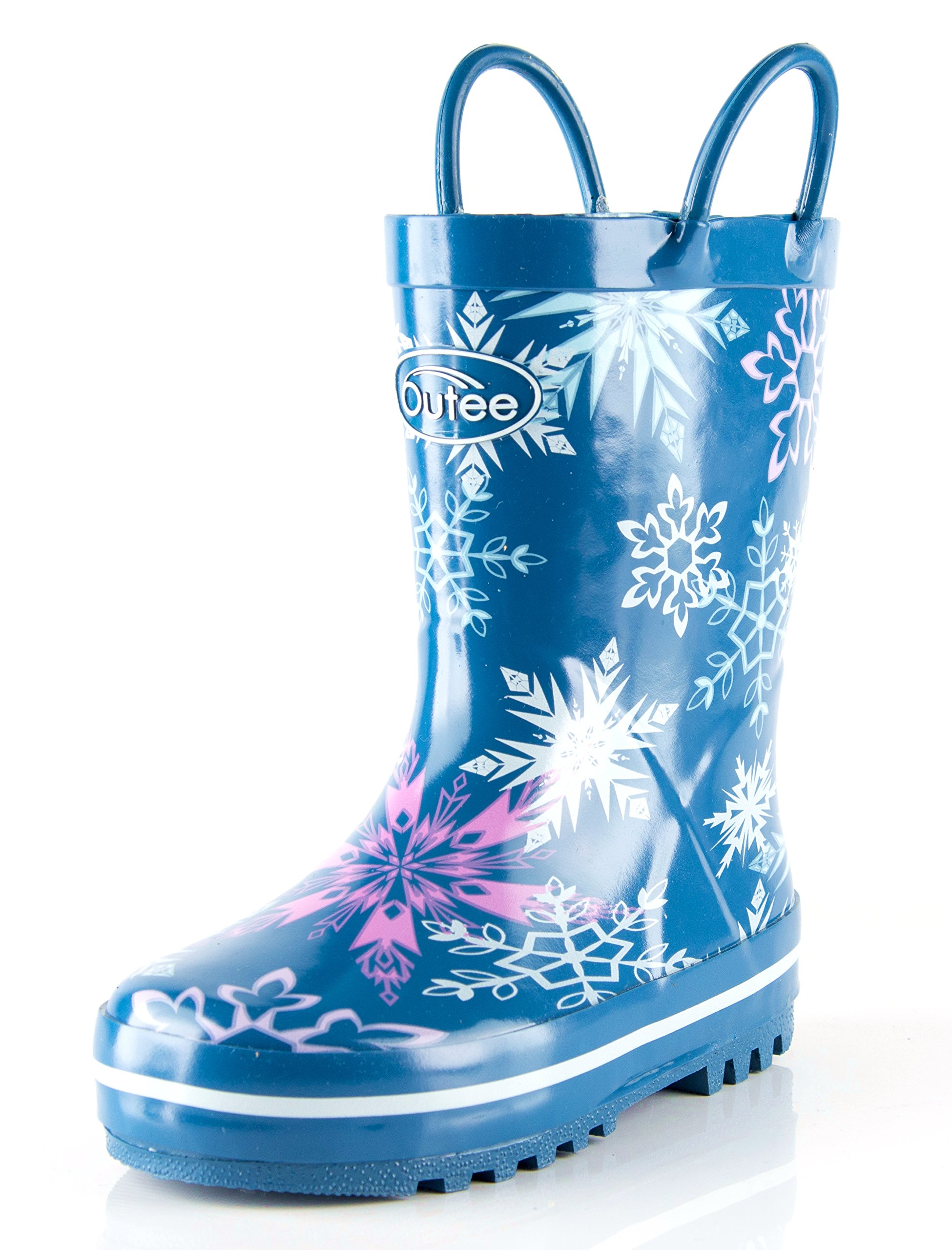 Outee Toddler Girls Kids Rain Boots Rubber Waterproof Boots Blue Frozen Snow Cute Print with Easy-On Handles Classic Comfortable Removable Insoles Anti-Slippery Durable Sole with Grip (Size 7,Blue) by Outee (Image #1)
