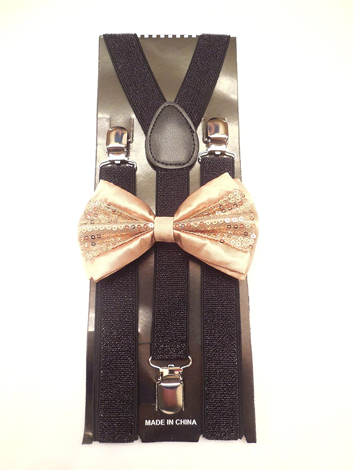 Black Champagne New Suspender Bow Tie Matching Colors Adults Unisex Formal