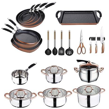 Bergner Infinity Chefs-Set de Batería de Cocina Completa, Cromado/Bronce, Colección