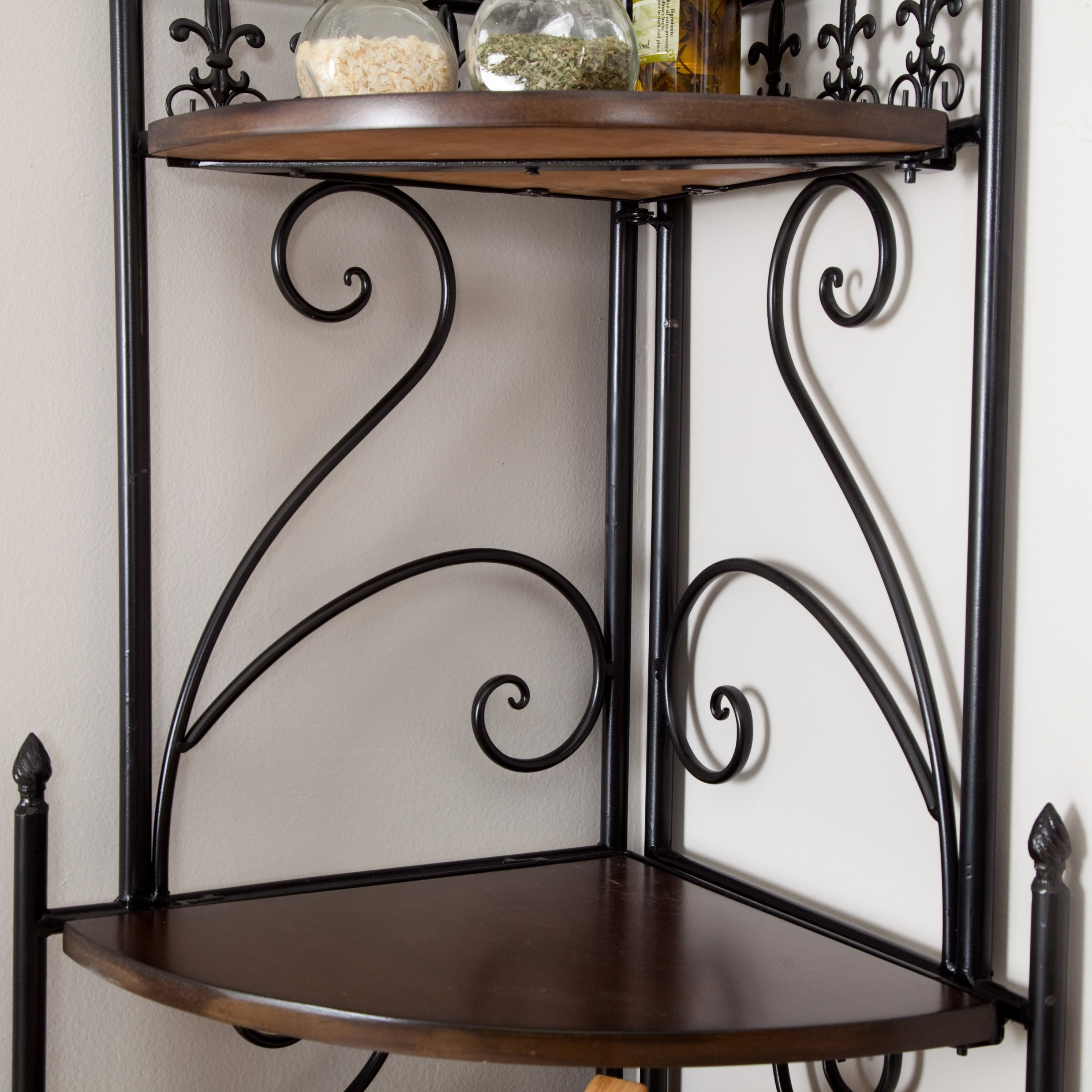 Belham Living Portica Wrought Iron and Wood Corner Bakers Rack by Belham (Image #4)