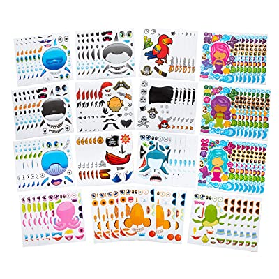 96 PCS Make-A-Face Sea Sticker Sheets Make Your Own Ocean Character Stickers -Great For Under The Sea & Mermaid Party Favors - Mix & Match Between Fish, Mermaids, Sharks, Whales, Dolphins & More!: Toys & Games
