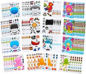 96 PCS Make-A-Face Sea Sticker Sheets Make Your Own Ocean Character Stickers -Great For Under The Sea & Mermaid Party Favors - Mix & Match Between Fish, Mermaids, Sharks, Whales, Dolphins & More!