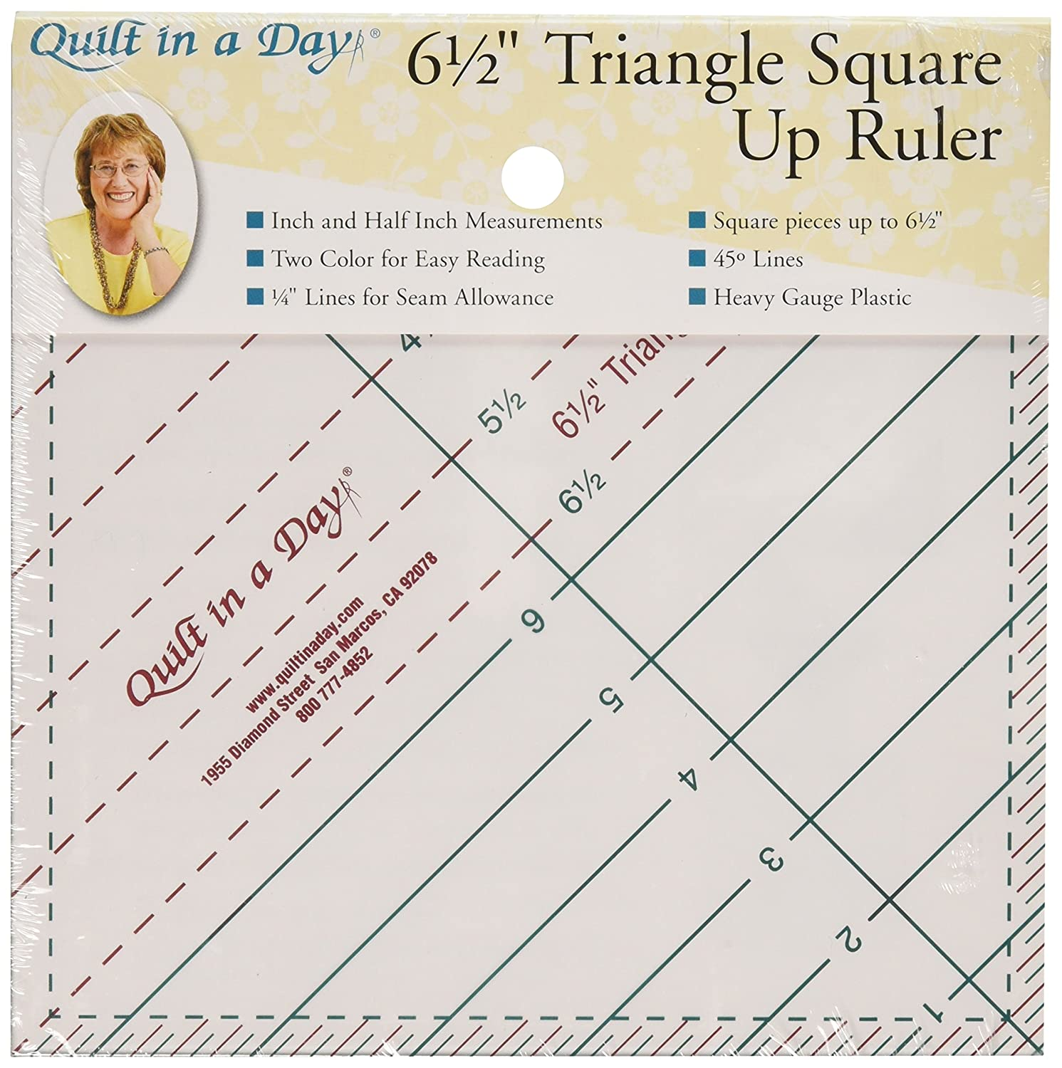 Quilt In A Day 6-1/2-Inch by 6-1/2-Inch Triangle Square Up Ruler 2010