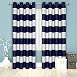 BONZER Stripe Window Curtains for Bedroom - Grommet Room Darkening Curtain, Thermal Insulated, Noise Reducing and Light Block