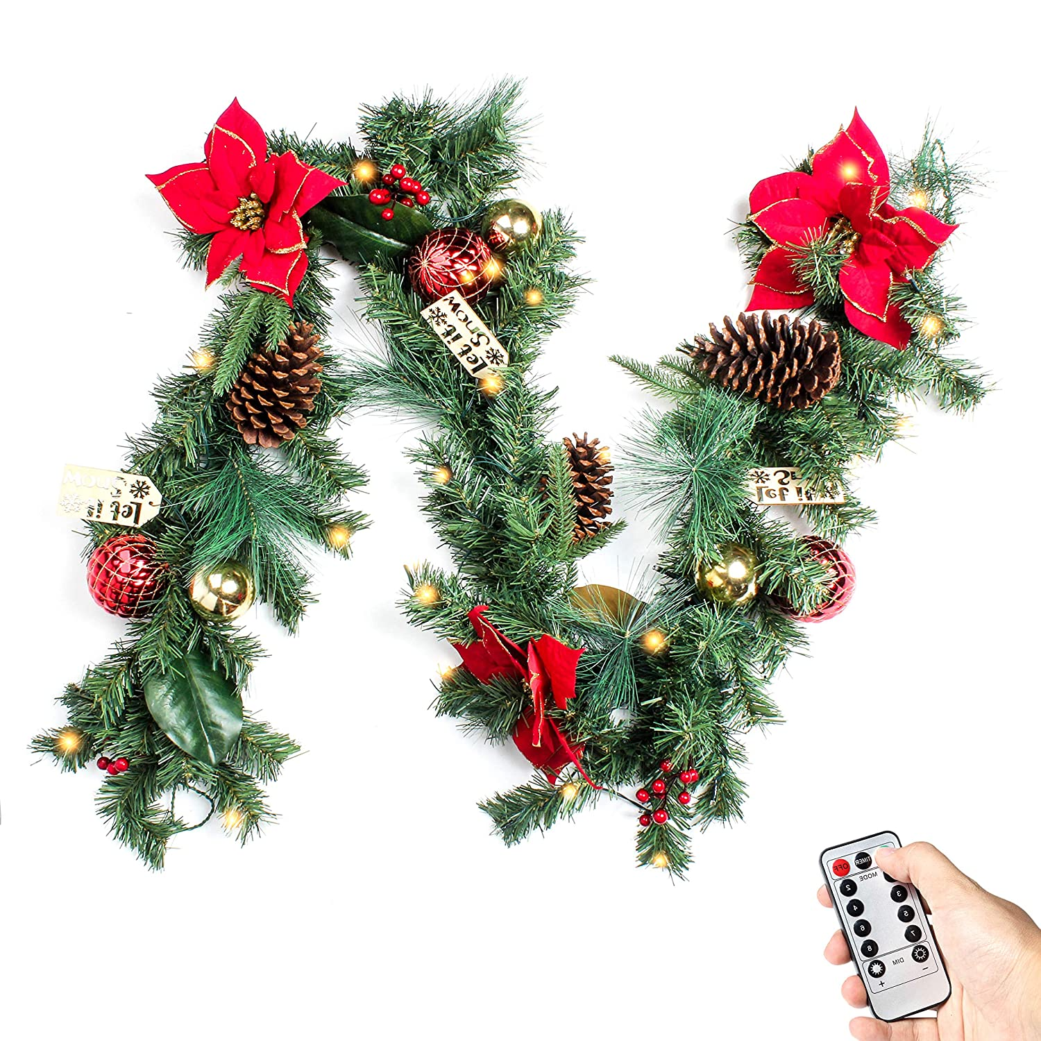 Costyleen 6 Feet Christmas Garland Decorations Outdoor Indoor Artificial  Pine Wreath Xmas Decors with Remote Controlled 30 LED Lights, Ball Ornaments  Pine ...
