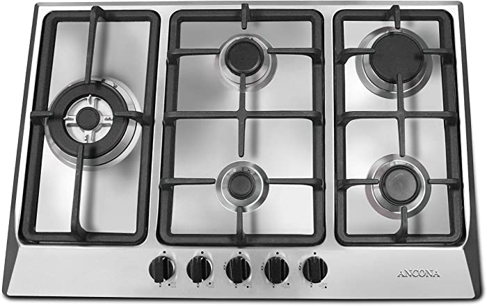 "Ancona AN-21429 30"" Gas Cooktop, Stainless Steel"