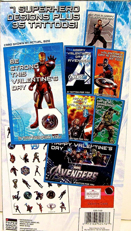 Marvel Avengers 34 Valentines con 35 Tatuajes: Amazon.es: Oficina ...