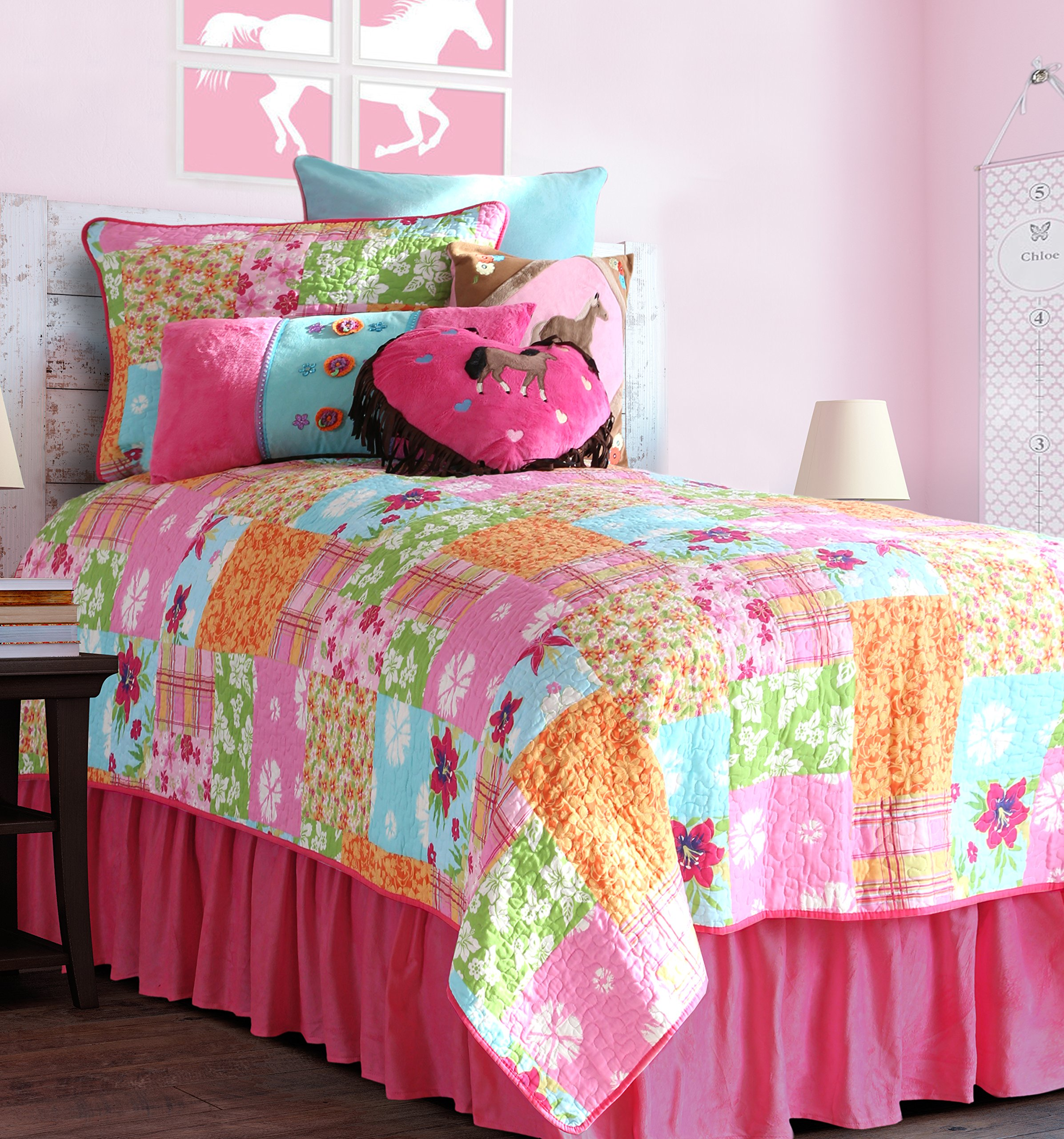 Carstens 100% Cotton Patchwork Country Flower Girls Quilt, Full/Queen
