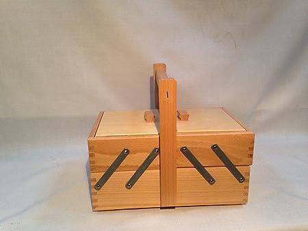Cestino cucito in legno chiaro Porta Lavoro di cucito a 2 piani (Medio) 72 1C