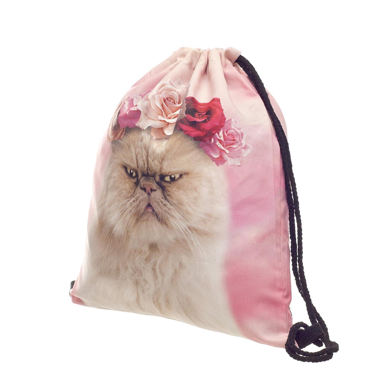 Amazon.com | Fringoo Big Boys Drawstring Backpack Shoulder PE Bag Printed Travel Laptop Bag One Size : High 40 Cm / Length 33 Cm Roses Cat | Backpacks