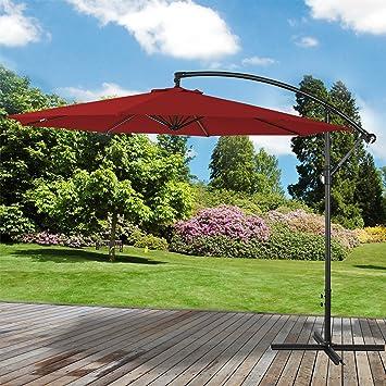 d2d40a58fd Marko Outdoor Red 3M Overhanging Parasol Cantilever Garden Sun Shade Patio  Banana Large Umbrella