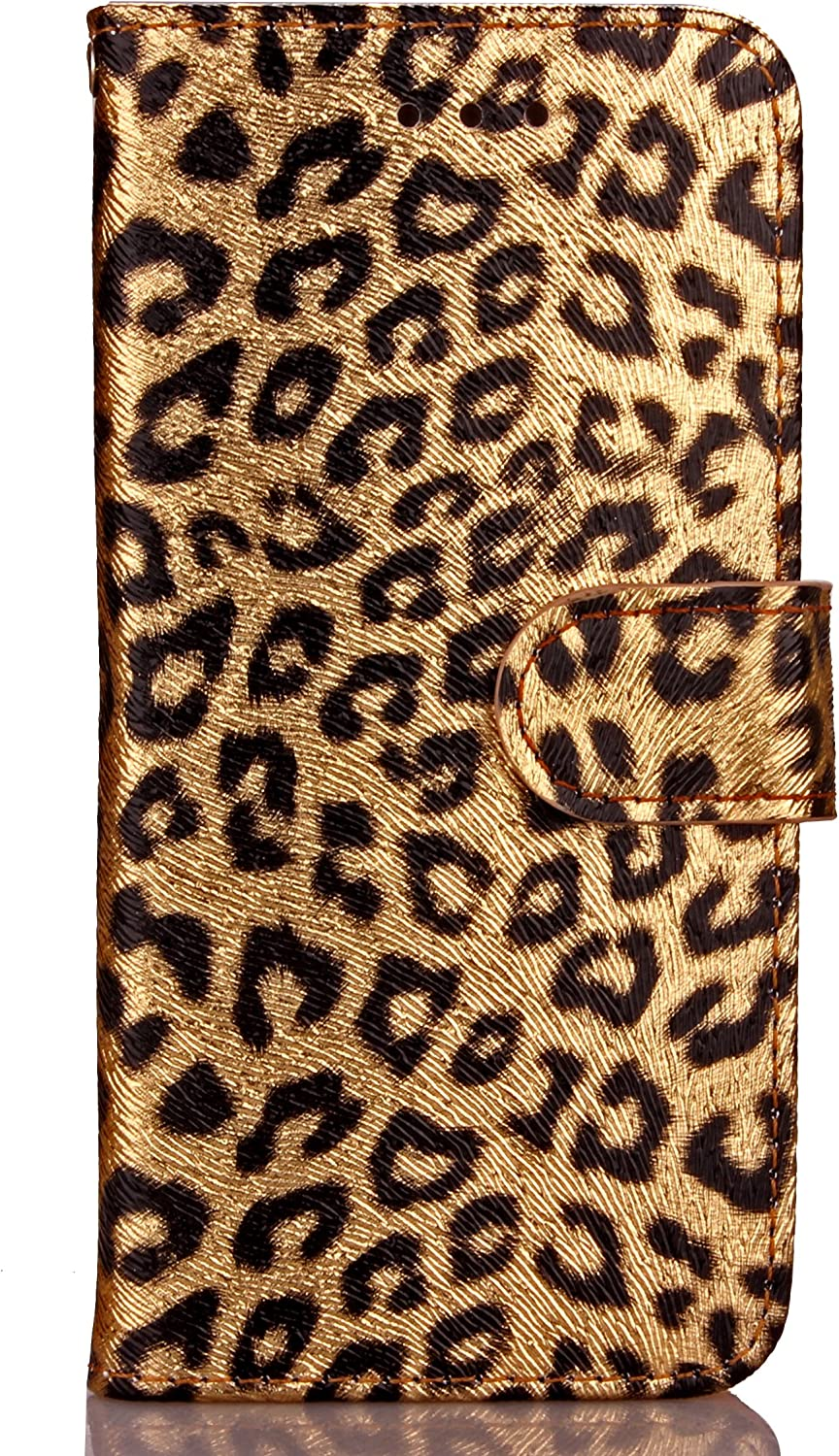 Iphone 6 plus 6s plus phone case,PU Leather Luxury Leopard Pattern Wallet Flip Case Card Slots With Magnetic Closure Wallet Case For iPhone 6P/6SP (gold)