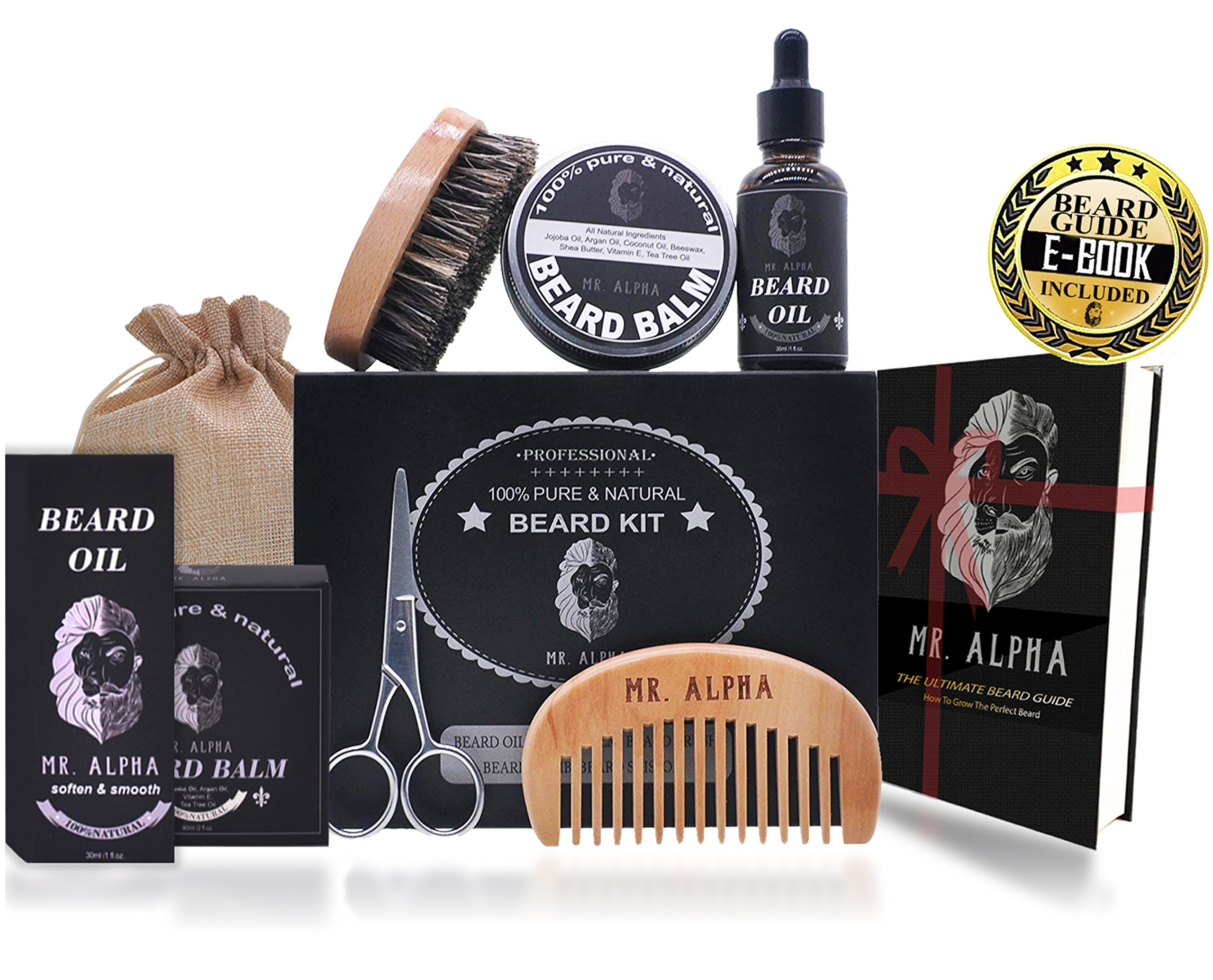 Beard Grooming Kit Gift Set for Men - Essential Facial Hair Care | Mustache Comb, Beard Brush, Styling Wax Balm, Professional Trimming Scissors, Hydrating Beard Conditioner Oil | Organic Ingredients