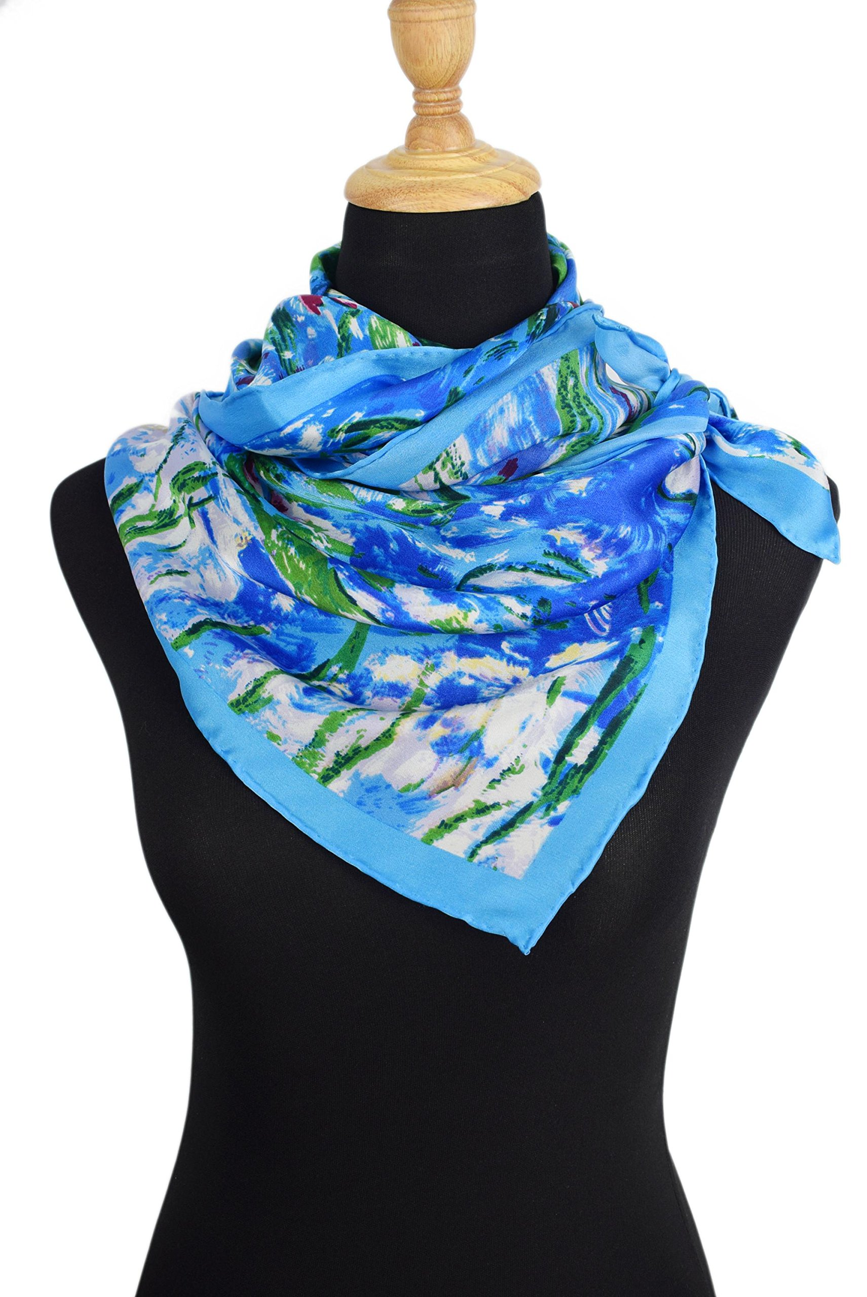 Luxurious 100% Charmeuse Silk Art Collection Long Scarf Shawl (Water Lilies) by Elegna (Image #7)