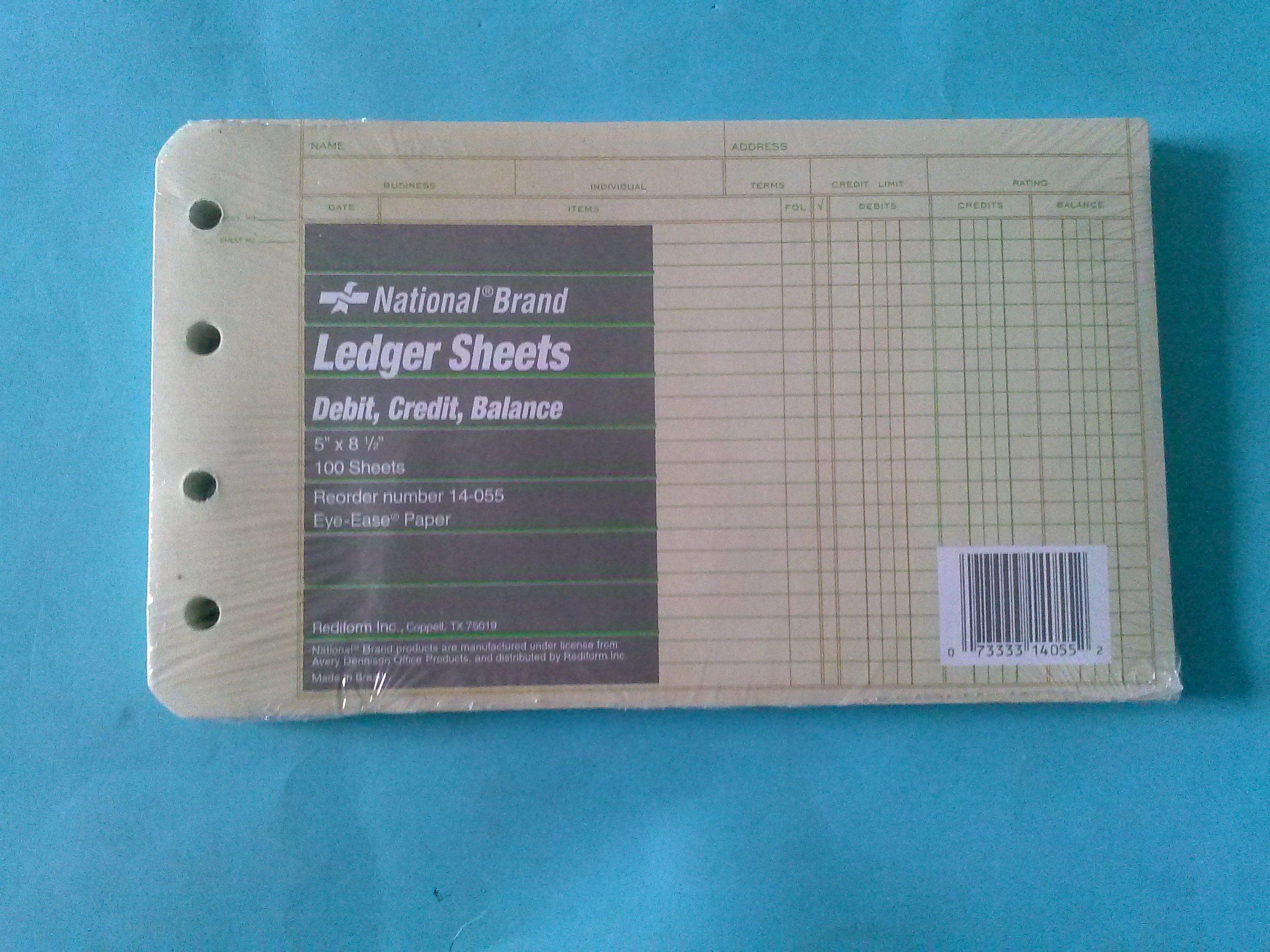 National 14-055 Ledger Sheets Debit Credit Balance 5'' x 8 1/2'' 100 Sheets Eye-Ease Paper
