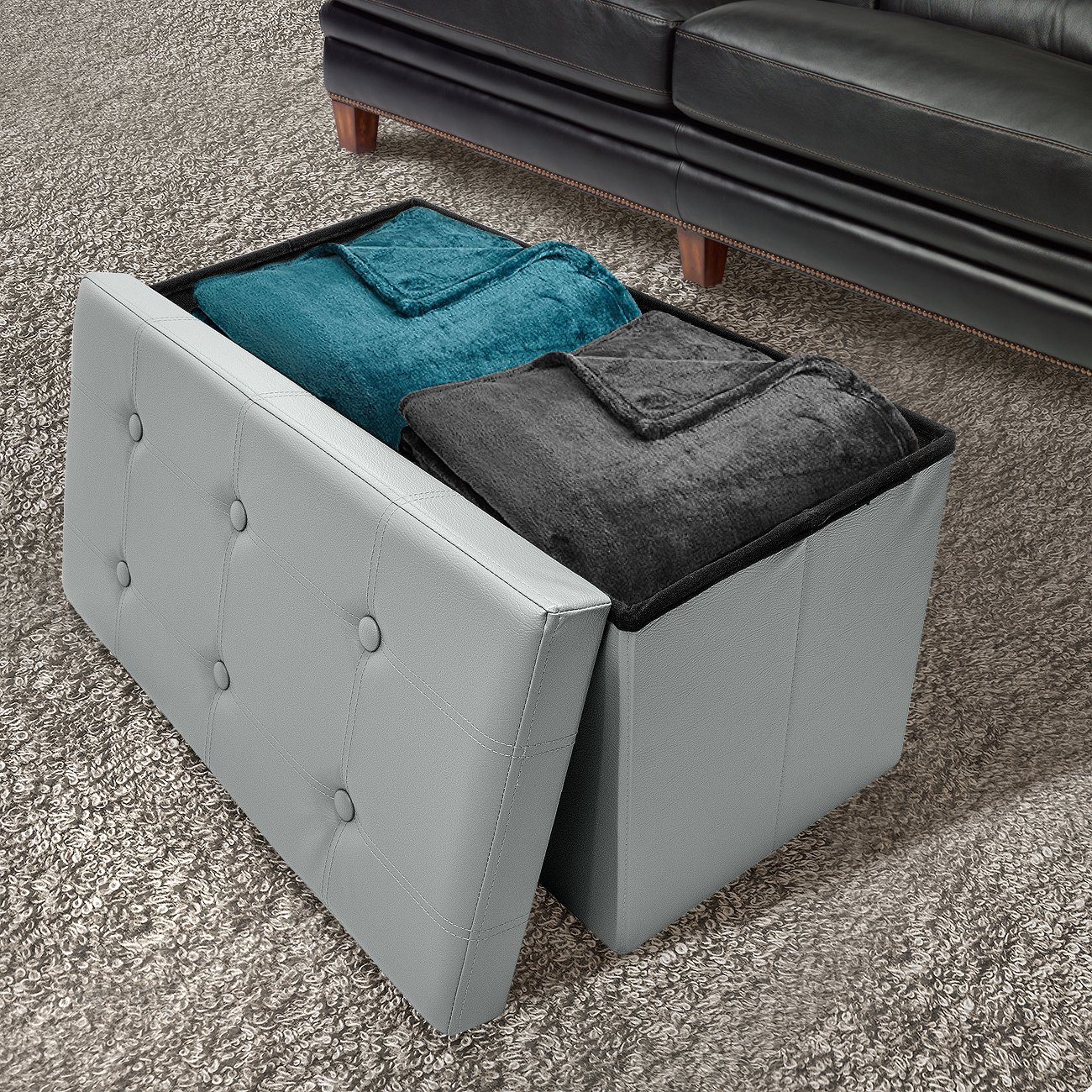 Sorbus Storage Bench Chest Collapsible Folding Bench Ottoman with Cover Perfect Hope Chest, Pouffe Ottoman, Coffee Table, Seat, Foot Rest, and More Contemporary Faux Leather Gray
