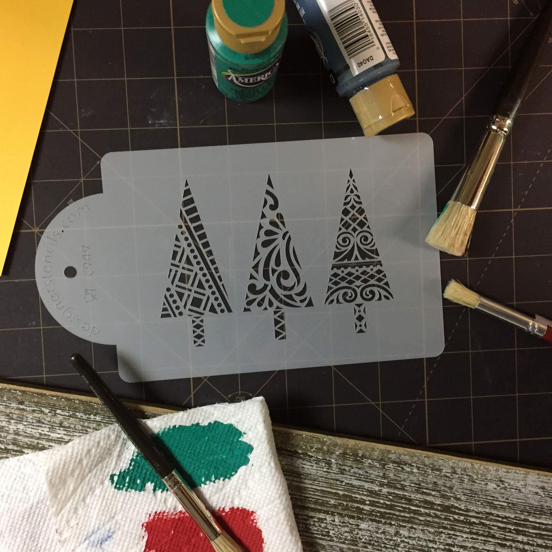 Modern Christmas Trees Cake Stencil by Designer Stencils by Designer Stencils