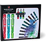Sheaffer Calligraphy Maxi Kit with 3 Viewpoint Fountain Pens, 3 Nib Sizes, 20 Ink Cartridges in 8 Colors, an Instruction Booklet and a Tracing Pad (83404)