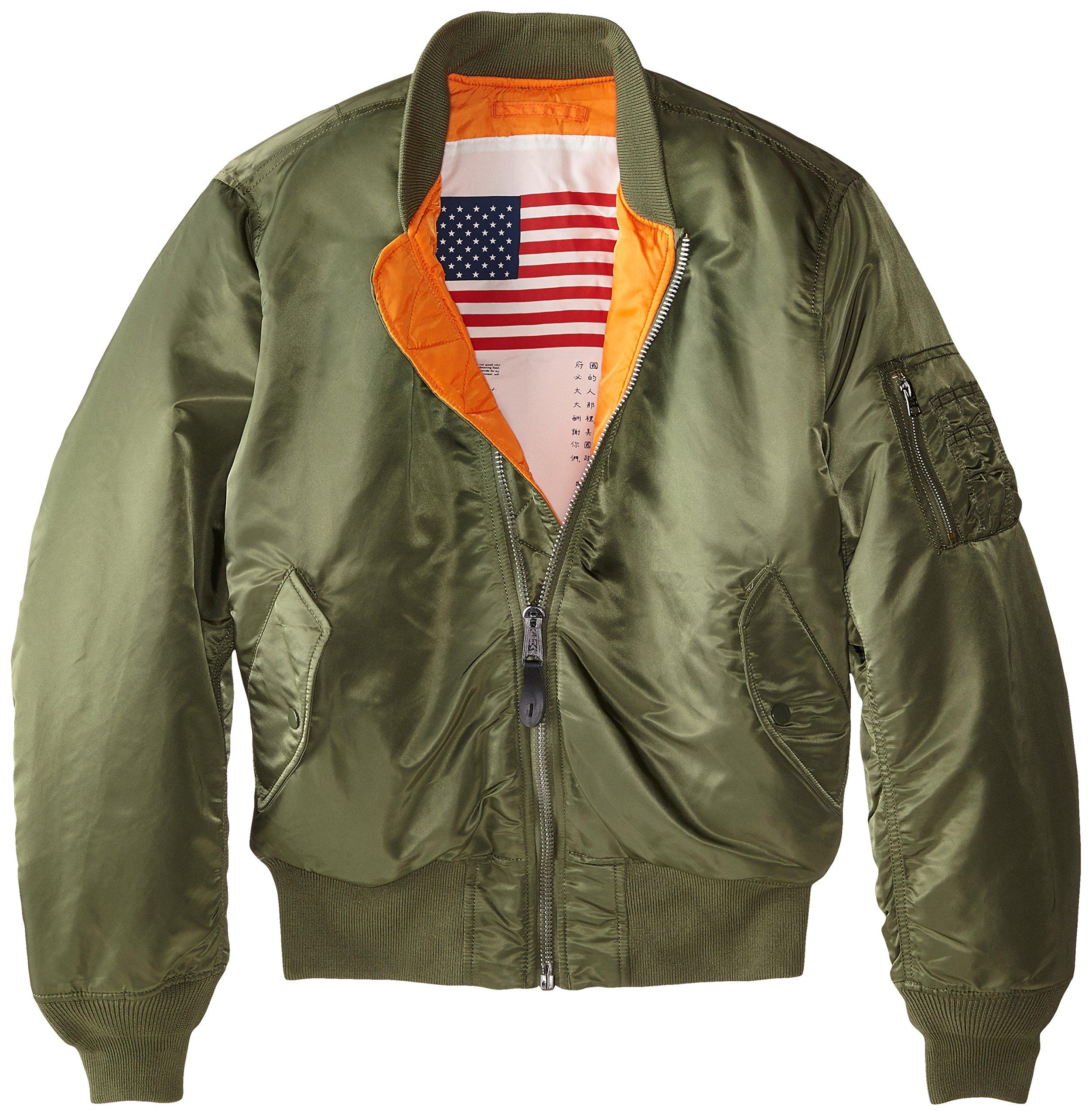 Alpha Industries Men's MA-1 Blood Chit Flight Bomber Jacket, Sage, Small