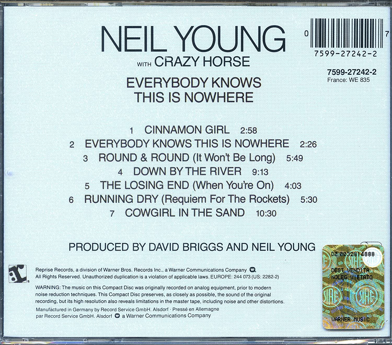 Neil young cowgirl in the sand girls
