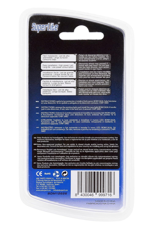 Superlite BOM12626 Blíster de 2 bombillas Posición 5 LED sin Casquillo Blanco: Amazon.es: Coche y moto