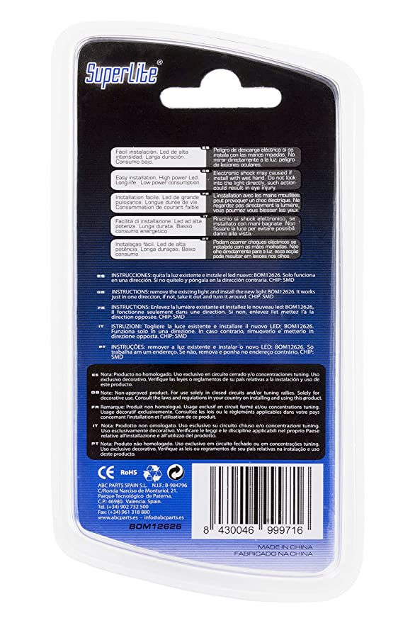 Superlite BOM12626 Blíster de 2 bombillas Posición 5 LED sin ...