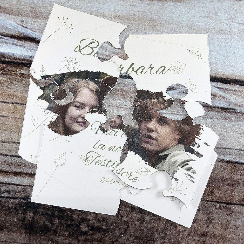 regalo testimone nozze Mini puzzle per testimone con foto dei futuri sposi personalizzato con nome e data