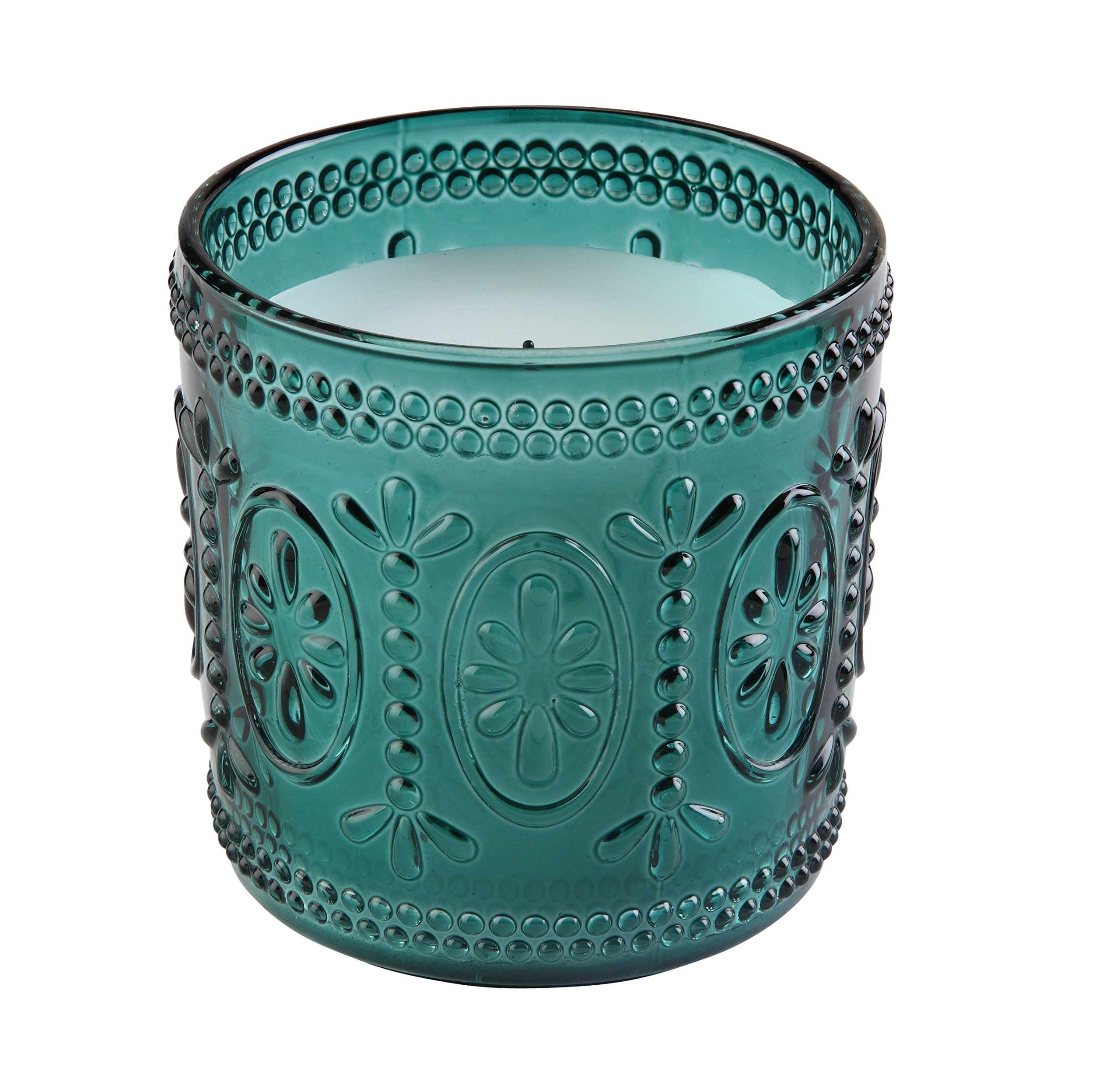 Sterno Products 60190 Amelia 3 1/2'' Teal Flameless Wax Filled Glass Lamp - 4-Pack by Sterno