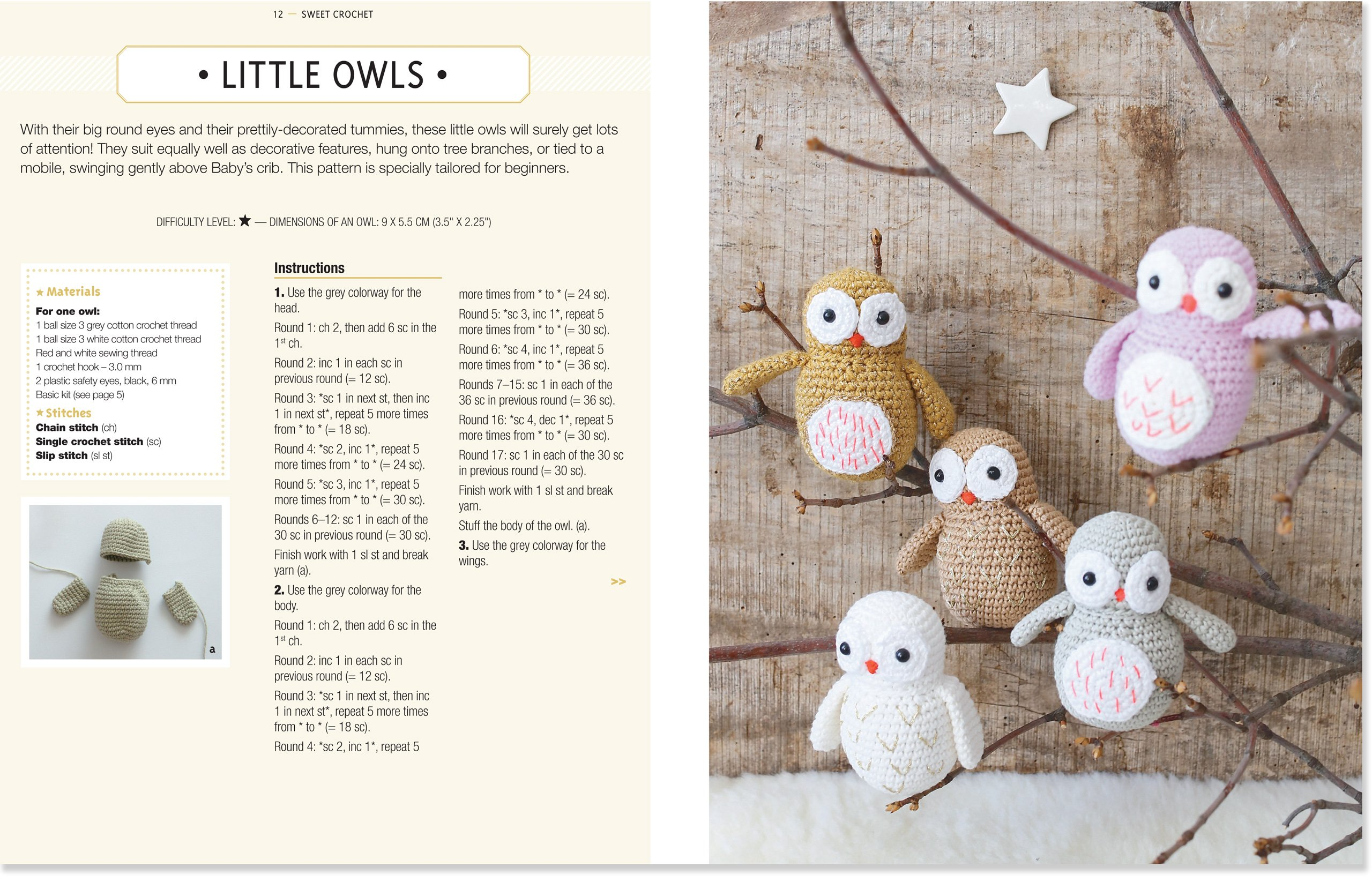 Contemporary Crochet Owl Mobile Pattern Vignette - Sewing Pattern ...