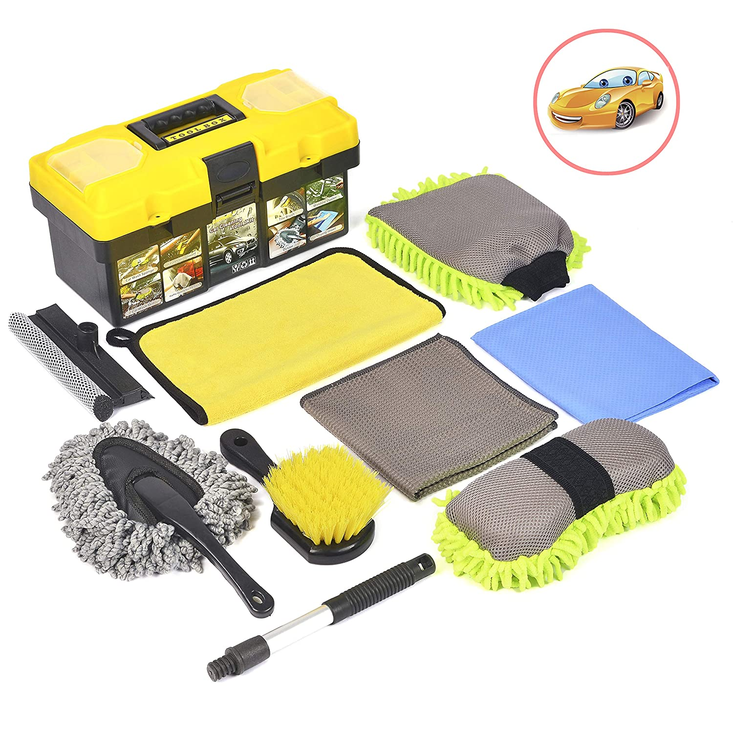 Konpard Car Cleaning Tools Kit 9Pcs Car Wash Tools Kit - Premium Chenille Microfiber Wash Mitt - wash Sponge - Tire Brush - Window Water Blade Brush with Tool Box