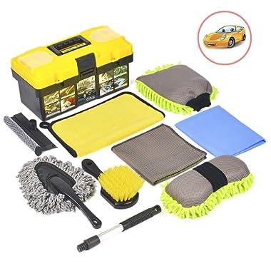 Konpard Car Cleaning Tools Kit 9Pcs Car Wash Tools Kit - Premium Chenille Microfiber Wash Mitt - wash Sponge - Tire Brush - Window Water Blade Brush with Tool Box