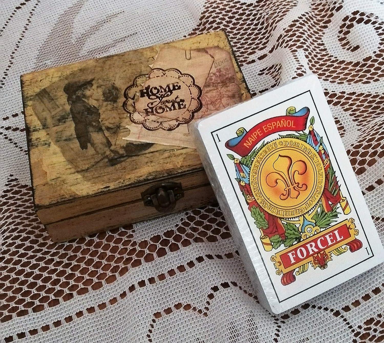 Caja para cartas o pequeño joyero decorado a mano y pieza ...