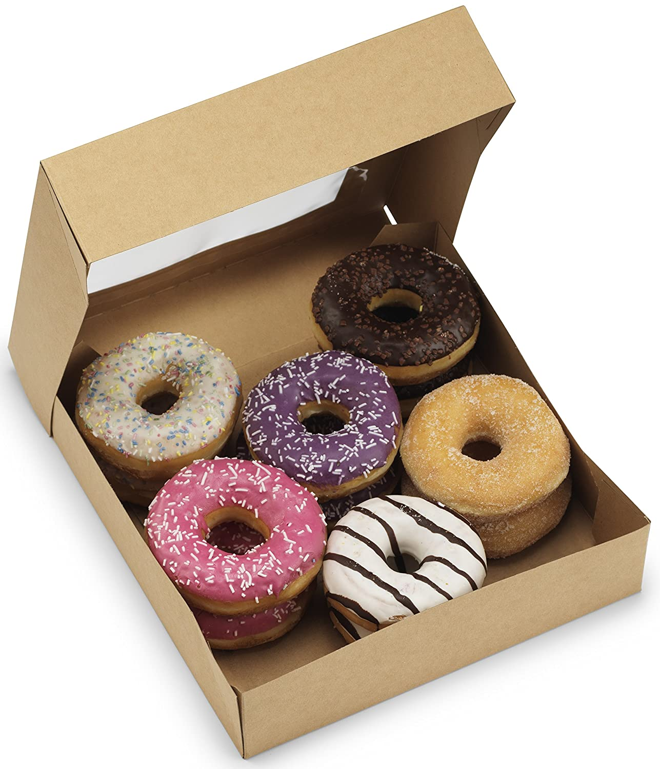 Thick Bakery Boxes 10x10x2.5 inches - [50 pack] - Premium Kraft Paperboard Containers With Window - By Cuisiner