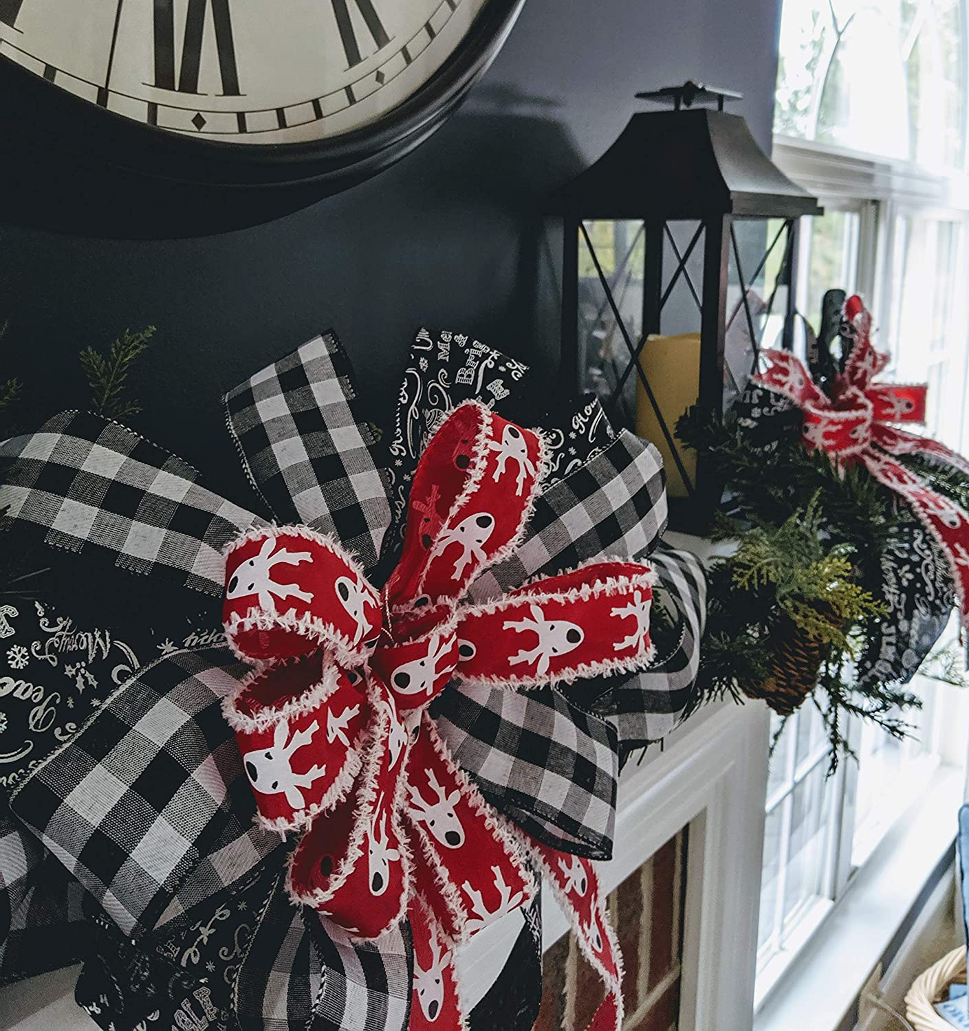 red /& white reindeer and black /& white check ribbon. 80/% OFF CHRISTMAS CLEARANCE! 10 Christmas bow set made with 40 yards of black with white script