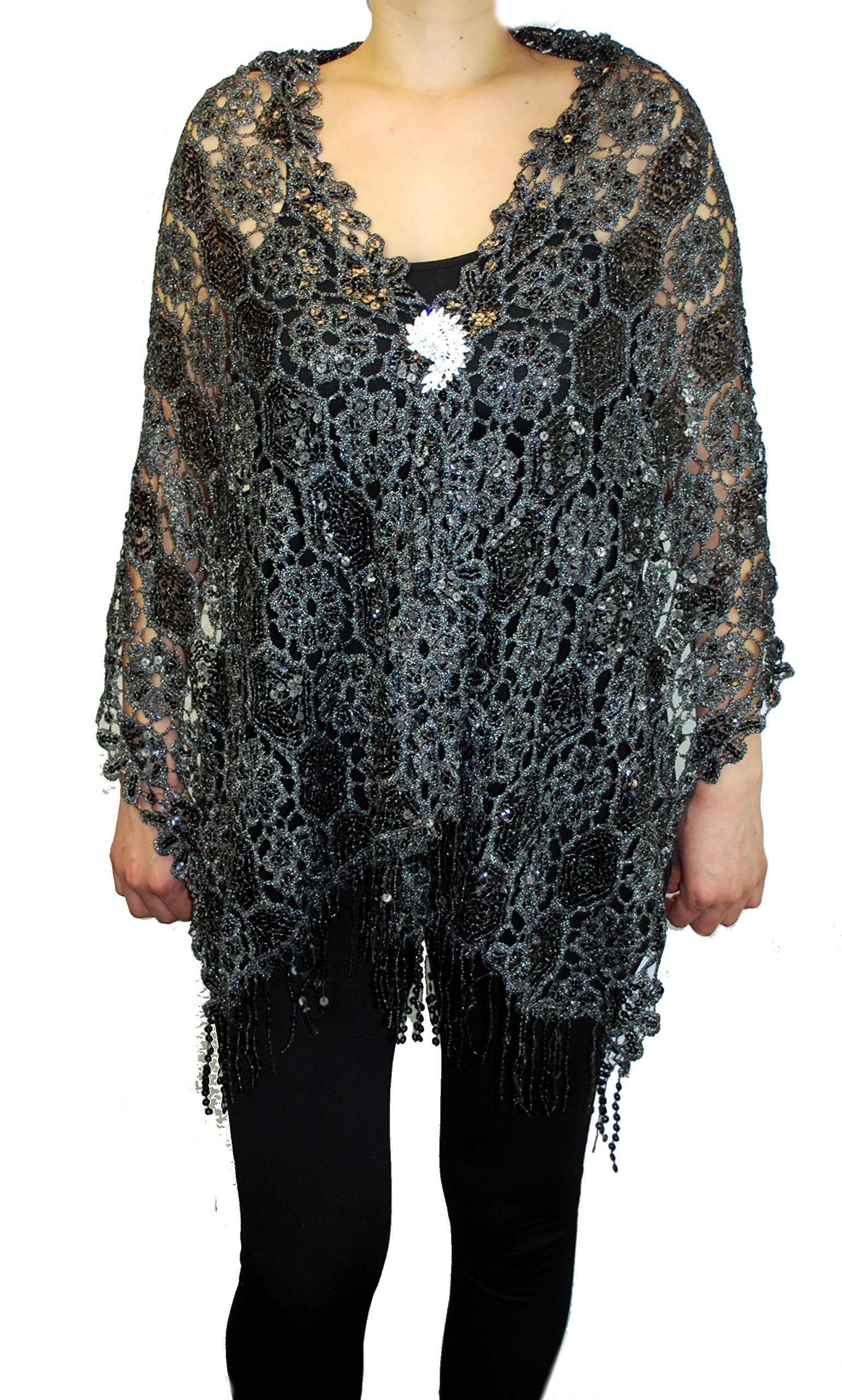 Love My Seamless Mother Of Bride Fashion 19'' x 62'' Sequins Beaded Embroidered Lace Shawl Scarf With Brooch Cover up Evening Wrap Scarve (Black/Silver)