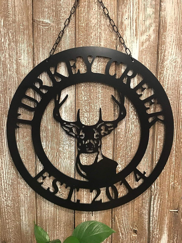 Metal Deer Last Name Door Hanger - 24