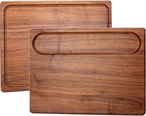 ALDDN Walnut Wood Cutting Board, Large Reversible with Handles and Juice Groove Extra Thick Butcher Block Chopping Board Carving Cheese Charcuterie Serving Handmade (18x12x1.5 in)