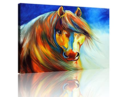 Amazon Com Nan Wind Horse Painting Canvas Wall Art Picture Colorful