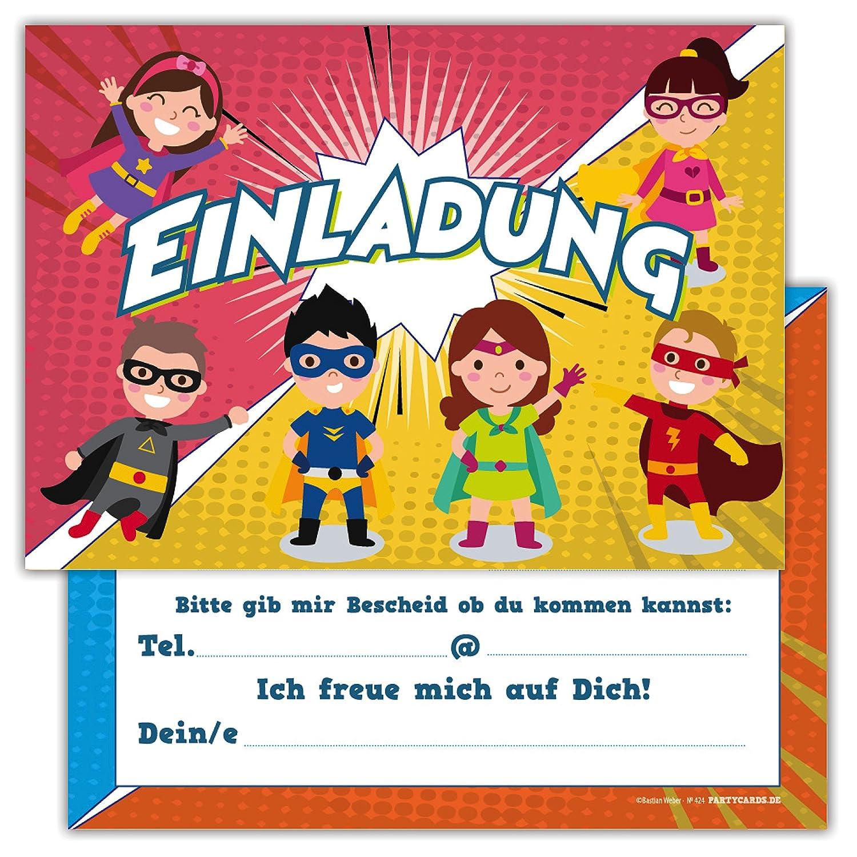 12 Lustige Einladungskarten Set Kindergeburtstag Motiv Superhelden ...