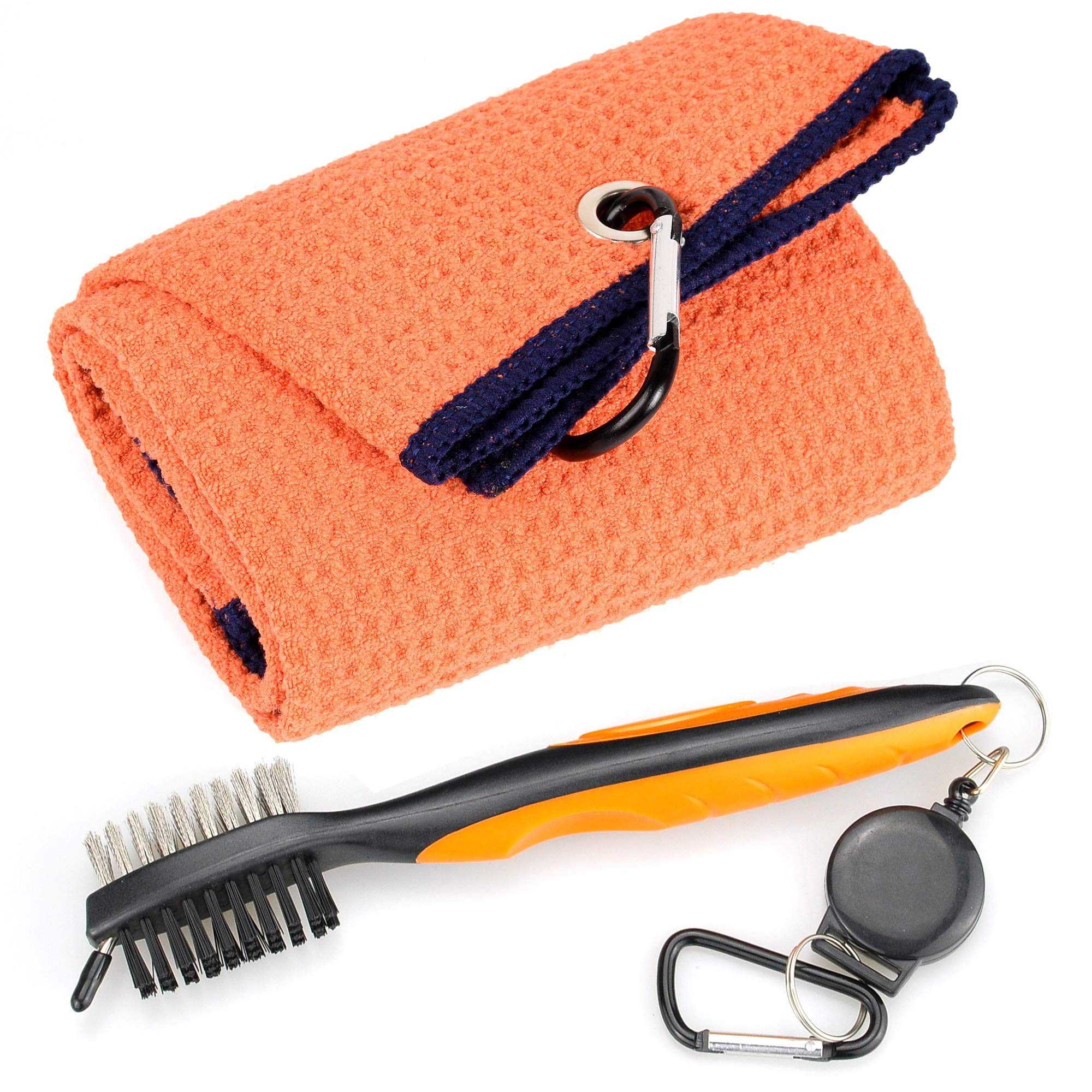 Mile High Life Microfiber Waffle Pattern Tri-fold Golf Towel | Brush Tool Kit with Club Groove Cleaner, Retractable Extension Cord and Clip (Orange Towel+Orange Brush) by Mile High Life