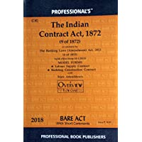 The Indian Contract Act 1872 as amended by The Banking Laws (Amendment) Act 2012/Latest Edition with Model Forms, Labour Supply Contract and Building Construction Contract with State Amendments and Overview Flow Chart/Bare Act Series