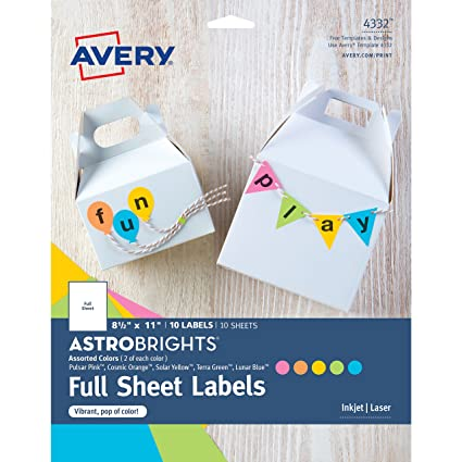 amazon com avery astrobrights color easy peel full sheet labels 8