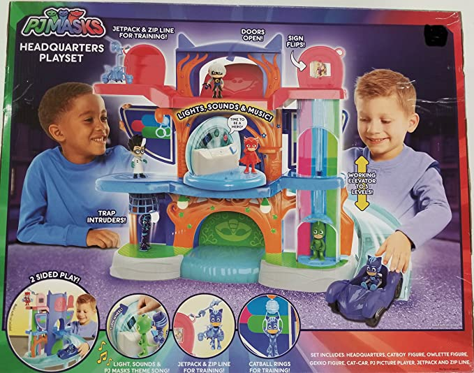 Amazon.com: PJ Masks Headquarters Playset - Owlette, Catboy, Gekko and Cat-car vehicle Included: Toys & Games