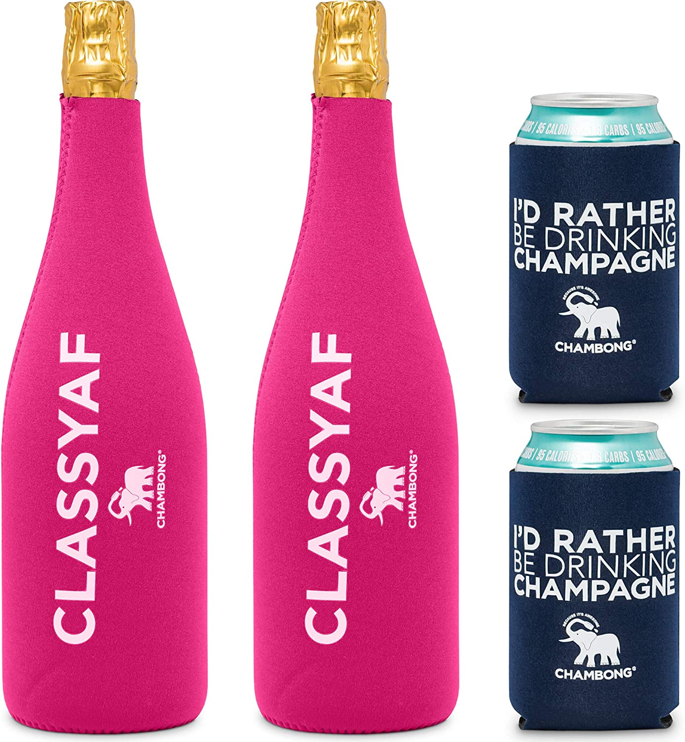 CHAMBONG - 4 Pack Champagne Bottle and Beer Can Coolie Insulators - Perfect for Chambong Party