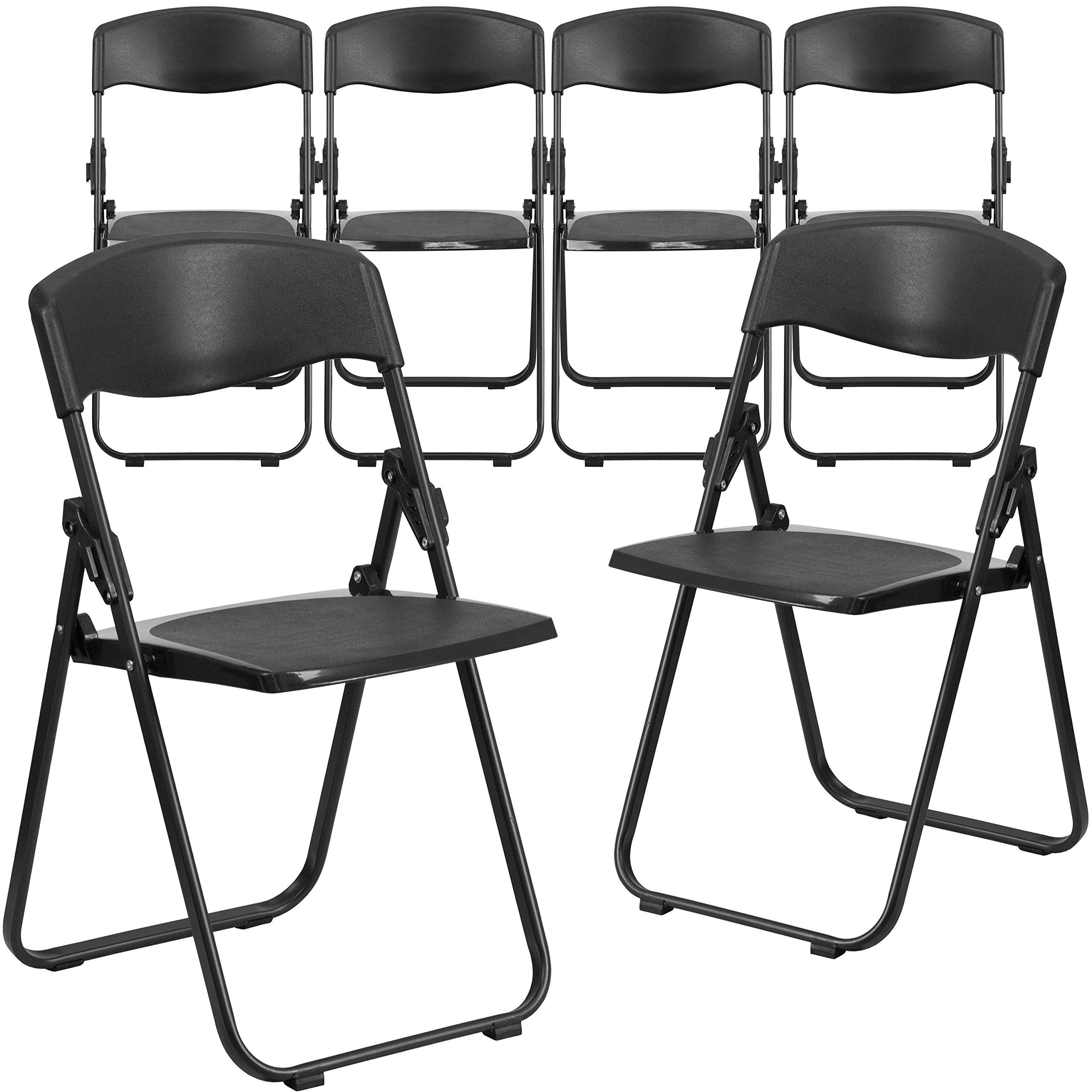 Flash Furniture 6 Pk. HERCULES Series 880 lb. Capacity Heavy Duty Black Plastic Folding Chair with Built-in Ganging Brackets by Flash Furniture