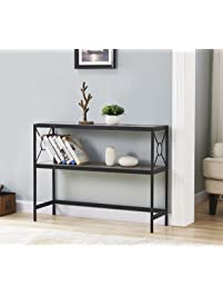 Weathered Grey Oak Metal Frame 2 Tier Console Sofa Table With Circle Design