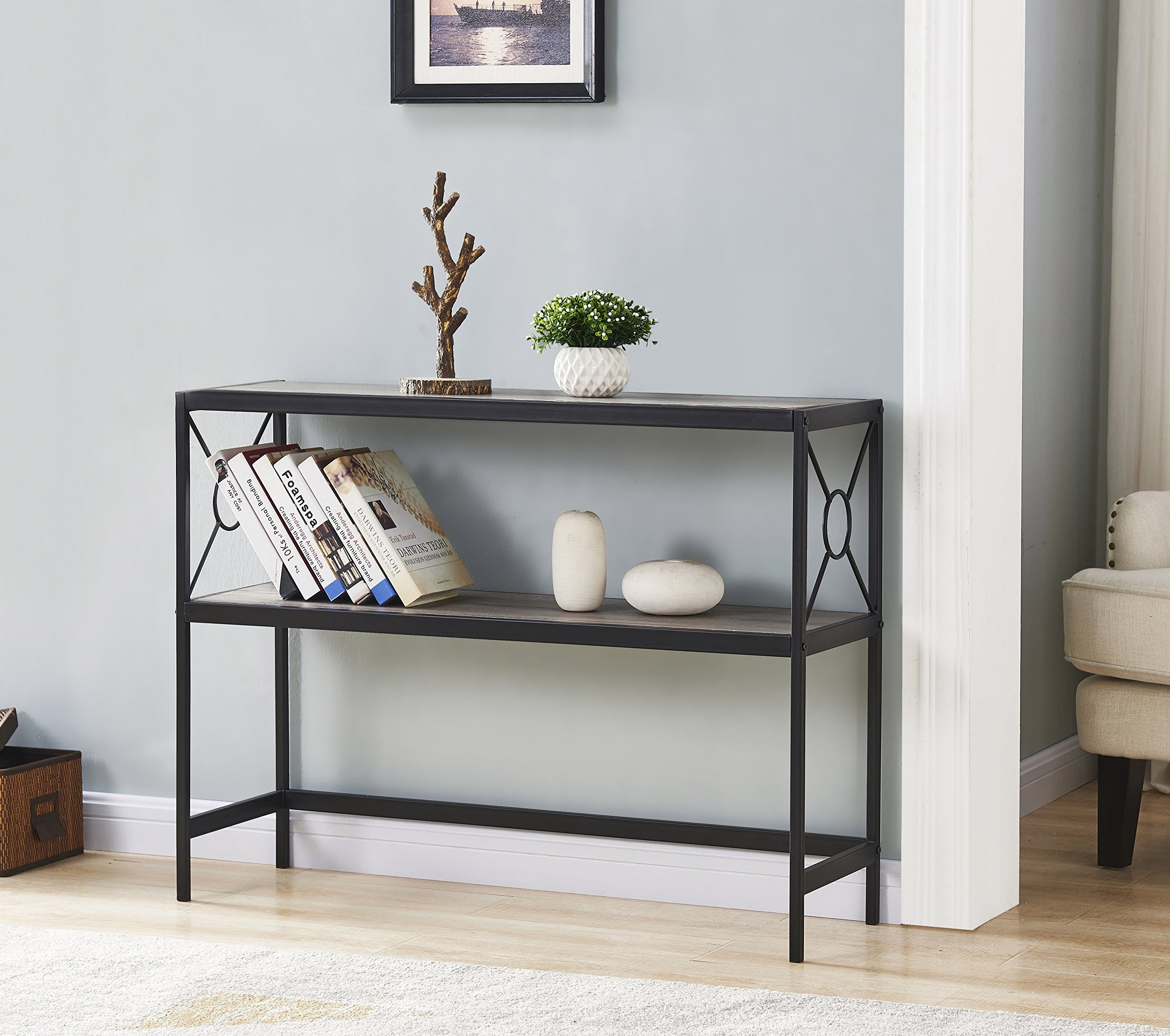 Weathered Grey Oak Metal Frame 2-tier Console Sofa Table with Circle Design